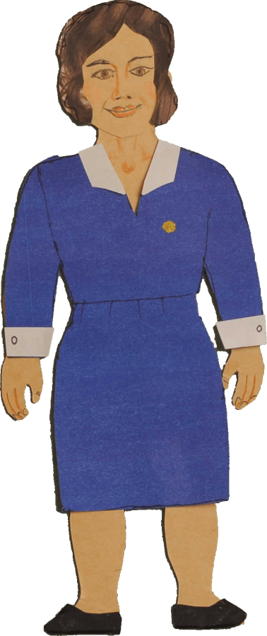 Deaconess Vera in 1940s Uniform with pin, artwork by Aileen Urquhart