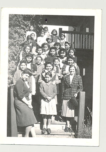 Deaconess Violet Deeprose (front row right) was on staff at Crosby Girls Home, part of the United Church residential school in Port Simpson, BC 1940
