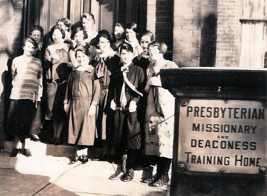 Students and Jean MacDonald, Principal (2nd row far left) in spring 1926 just before the Home merged with the Methodist Training School. Florence Capsey Karpoff 1st row right, Mildred Goldie Gorwill beside Jean.