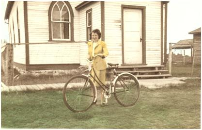 "Deaconesses often served as ""ministers"" when a man couldn't be found to fill the pulpit. Jessie MacLeod in Success, SK Deaconess Student Summer Placement in 1946."